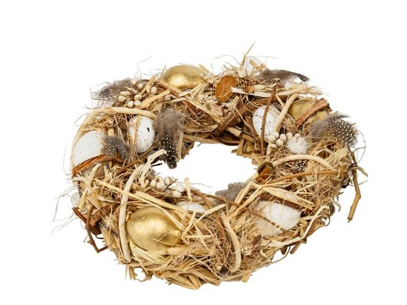 Kranz mit Eiern und Federn aus Gräsern und Ästen (natur gold) teilweise aus Kunsstoff – Dekokranz Türkranz Tischkranz – Ø  24cm x Breite/Höhe 6cm