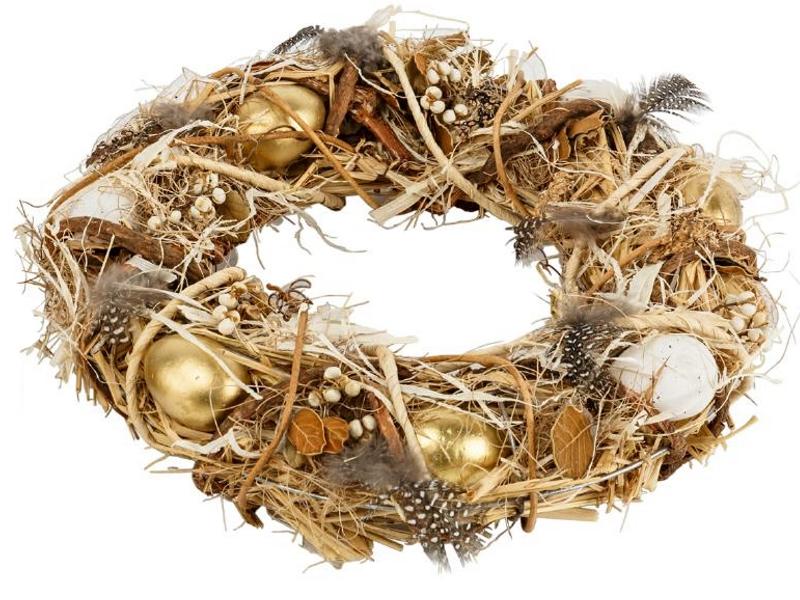 Kranz mit Eiern und Federn aus Gräsern und Ästen (natur gold) teilweise aus Kunsstoff – Dekokranz Türkranz Tischkranz – Ø  32cm x Breite/Höhe 7cm