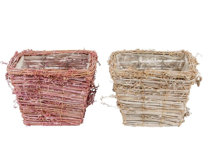 """2er-Set Topf """"Curly"""" aus Holz in 2 Farben (rosa/weiß) – Dekokorb Dekoschale Pflanzkorb - Breite 14cm x Tiefe 14cm x Höhe 11,5cm"""