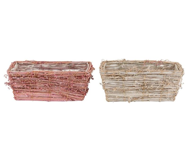 """2er-Set Jardiniere """"Curly"""" aus Holz in 2 Farben (rosa/weiß) – Dekokorb Dekoschale Pflanzkorb - Breite 25cm x Tiefe 13,5cm x Höhe 10cm"""