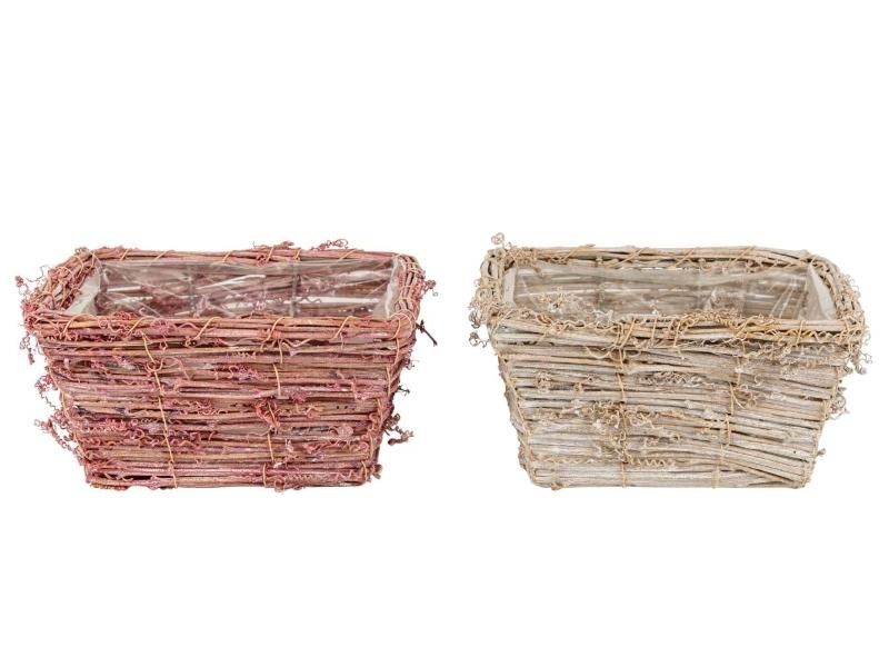"""2er-Set Schale """"Curly"""" aus Holz in 2 Farben (rosa/weiß) – Dekokorb Dekoschale Pflanzkorb - Breite 20cm x Tiefe 20cm x Höhe 10cm"""