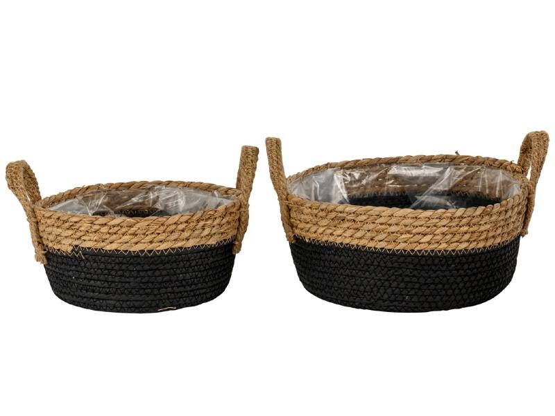 2er-Set Pflanzschalen aus Stroh und Jute mit Henkel (schwarz/braun) – Pflanzkorb Dekokorb – Ø 21cm x Höhe 9cm; Ø 25cm x Höhe 10,5cm