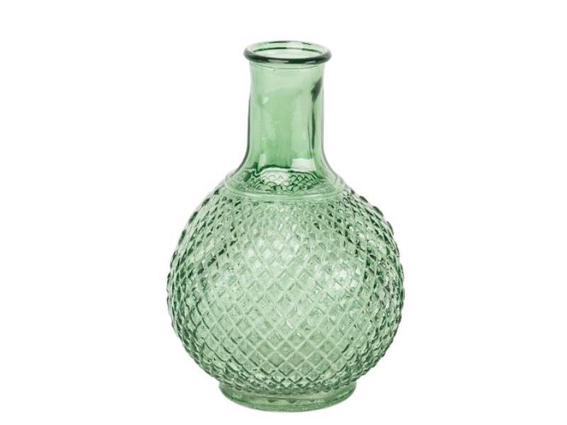 Flasche aus Glas (gruen) – Dekoflasche Flaschenvase Dekoglas - Ø 14cm x Hoehe 18cm