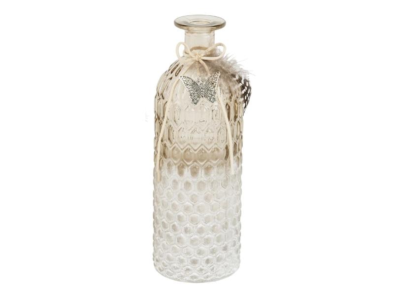 Flasche aus Glas mit Feder und Schmetterling (klar braun) – Dekoflasche Flaschenvase Dekoglas - Ø 8cm x Hoehe 26,5cm