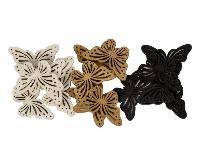 18er-Set Schmetterlinge aus Holz (weiss schwarz gold) - zum streuen Tischdekoration basteln dekoriert – Breite 4cm x Laenge 2,5cm