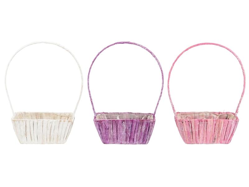 3er-Set Bügelkorb aus Wasserhyazinthen in 3 Farben (lila rosa weiss) – Pflanzkorb Pflanzschale mit Folie innenliegend – Breite 20cm x Laenge 12cm x Hoehe 9/34cm