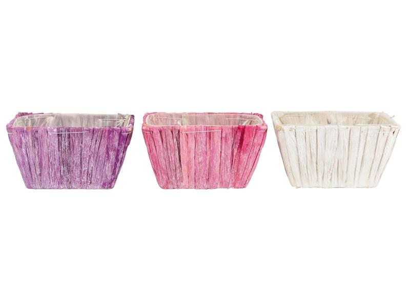 3er-Set Jardiniere aus Wasserhyazinthen in 3 Farben (lila rosa weiss) – Pflanzkorb Pflanzschale mit Folie innenliegend – Breite 25cm x Laenge 12cm x Hoehe 10cm