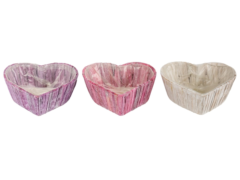 3er-Set Herz aus Wasserhyazinthen in 3 Farben (lila rosa weiss) – Pflanzkorb Pflanzschale mit Folie innenliegend – Breite 23cm x Laenge 19cm x Hoehe 9cm