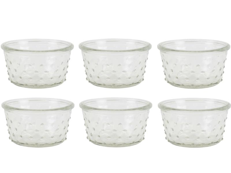 """6 Teelichthalter mit Punkten aus Glas """"Burl"""" (klar) – Windlicht Dekoglas Minivase – Ø 10,5cm x Hoehe 6cm"""