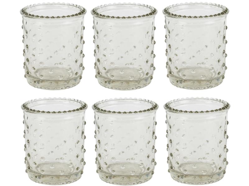 """6 Teelichthalter mit Punkten aus Glas """"Burl"""" (klar) – Windlicht Dekoglas Minivase – Ø 6,5cm x Hoehe 8cm"""
