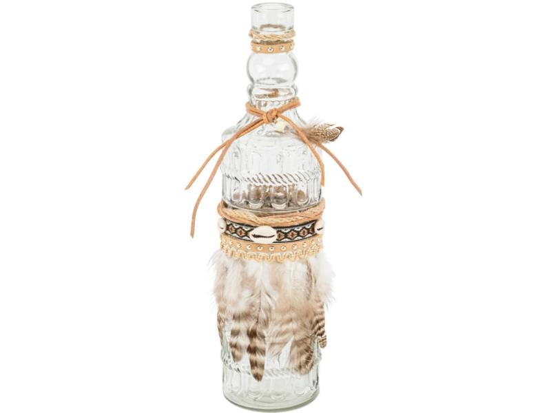 Flasche Accra mit Federn (klar / braun) – Dekoflasche Zierflasche Flaschenvase - Ø 8cm x Hoehe31cm