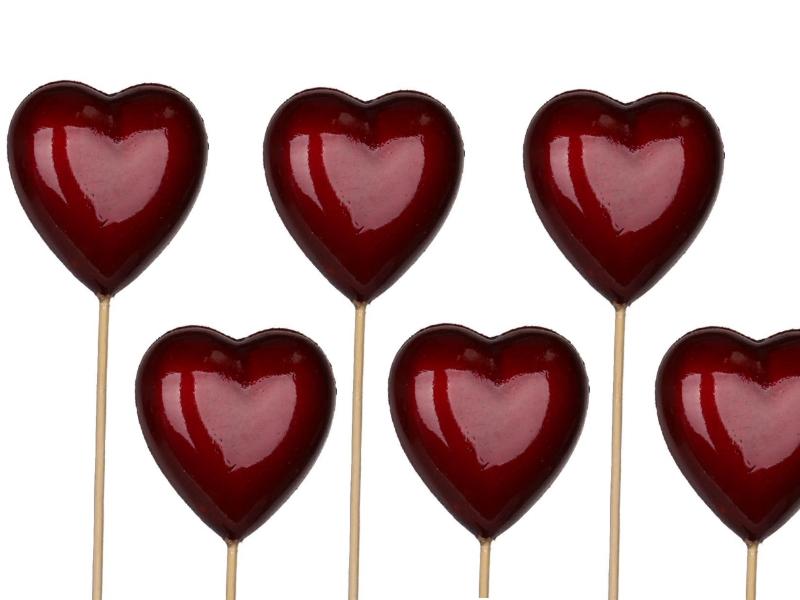 12 Herzen aus Styropor am Stab (rot glänzend) – Breite 6,5cm x Hoehe 6,5cm – Gesamtlänge 36cm