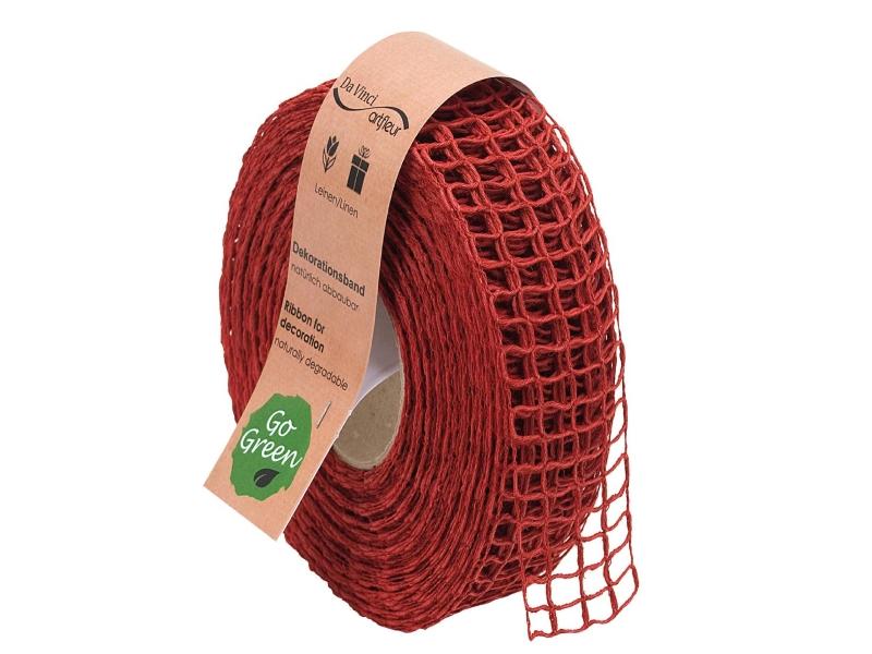 "20m Juteband ""Nature Basic"" Dekoband Bastelband Schmuckband - Breite 40 mm (rot)"