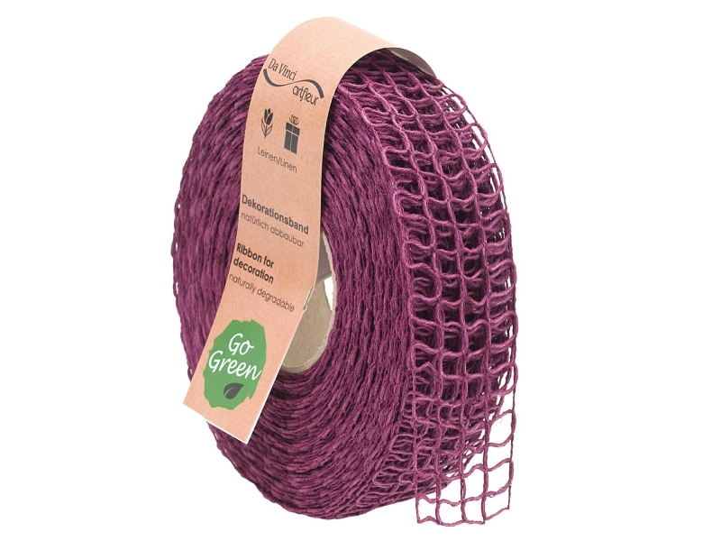 "20m Juteband ""Nature Basic"" Dekoband Bastelband Schmuckband - Breite 40 mm (lila)"