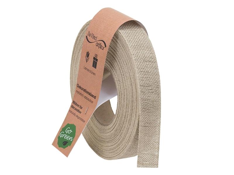 "20m Juteband ""Nature Basic"" Dekoband Bastelband Schmuckband - Breite 25 mm (natur)"