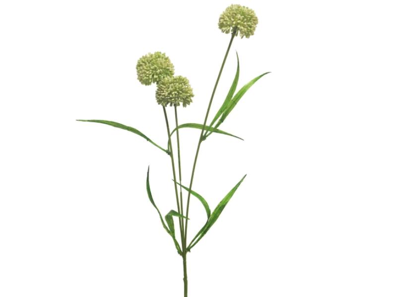 3 Alliumzweige (creme) – Kunstblumen mit je 3 Blüten und Blätter am Stiel – Gesamthoehe 51cm
