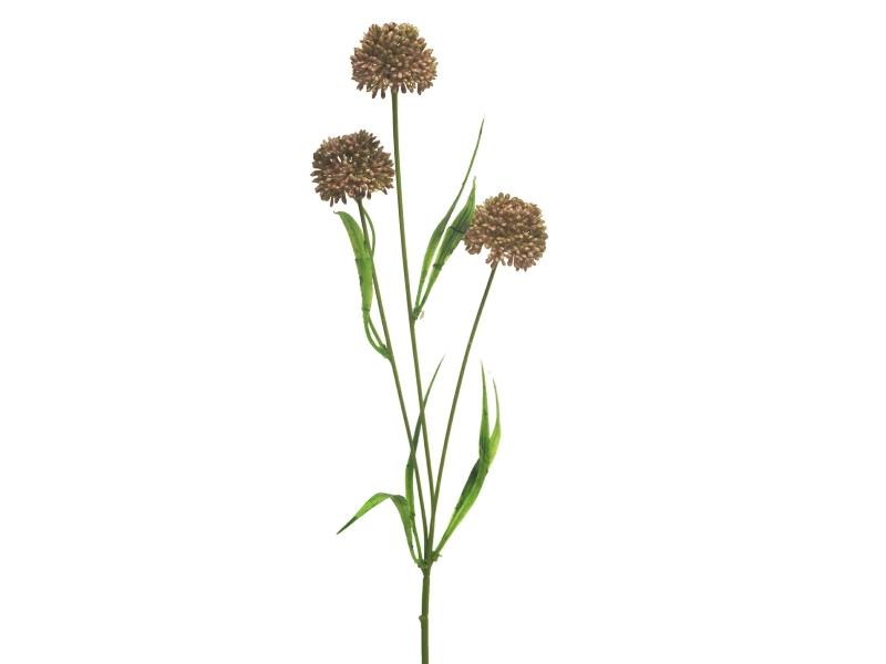 3 Alliumzweige (rosa) – Kunstblumen mit je 3 Blüten und Blätter am Stiel – Gesamthoehe 51cm