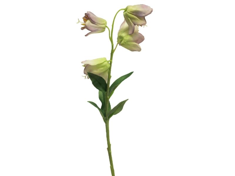 3 Campanula Bibi (helllila)  Kunstblumen mit je 4 Blüten und Blätter am Stiel – Gesamthoehe 33cm