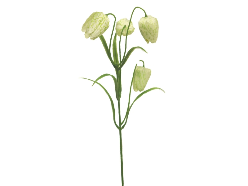 5 Fritallaria (creme) - Kunstblumen mit je 4 Blüte und Blätter am Stiel – Gesamthoehe 44cm