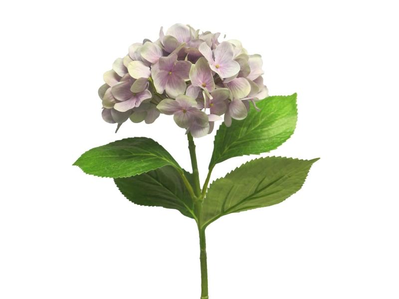 """3 Hortensien """"Rosanna"""" (hellblau) – 3 Blütenstände Kunstblumen mit Blüten und Blätter am Stiel – Gesamthoehe 66cm"""