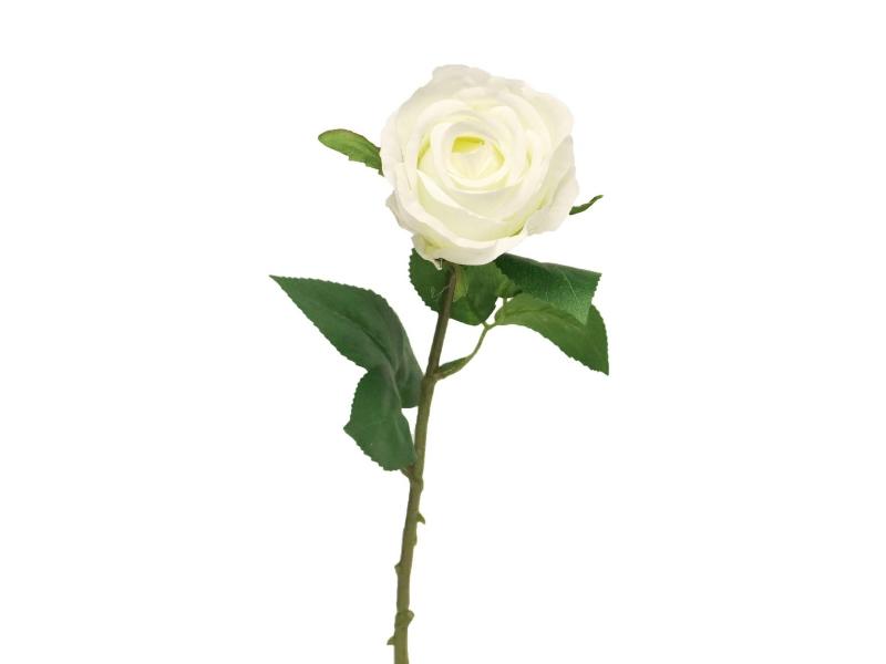 5 Rosen Amanda (weiss) – Kunstblumen mit je 1 Blüte und Blätter am Stiel – Gesamthoehe 44cm