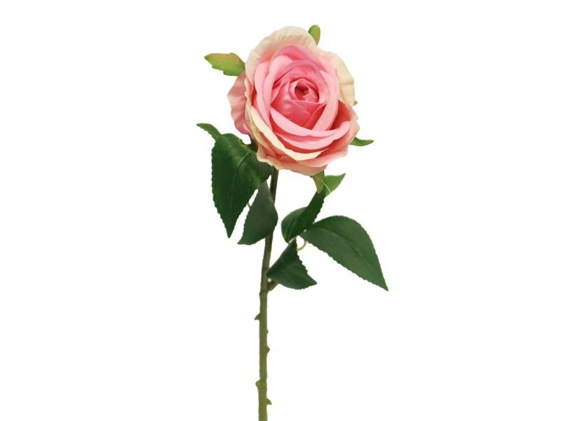 5 Rosen Amanda (rosa dunkel) – Kunstblumen mit je 1 Blüte und Blätter am Stiel – Gesamthoehe 44cm