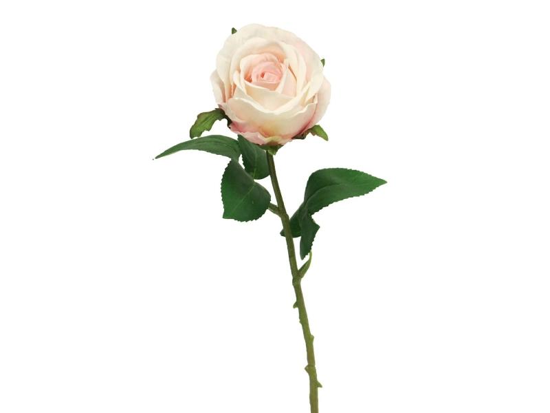 5 Rosen Amanda (pink) – Kunstblumen mit je 1 Blüte und Blätter am Stiel – Gesamthoehe 44cm