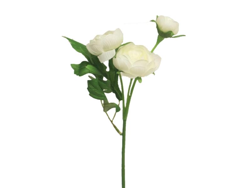 6 Ranunkeln Pick (weiss)  – Kunstblumen mit je 3 Blüten und Blätter am Stiel – Gesamthoehe 30cm