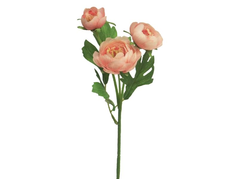 6 Ranunkeln Pick (rosa)  – Kunstblumen mit je 3 Blüten und Blätter am Stiel – Gesamthoehe 30cm