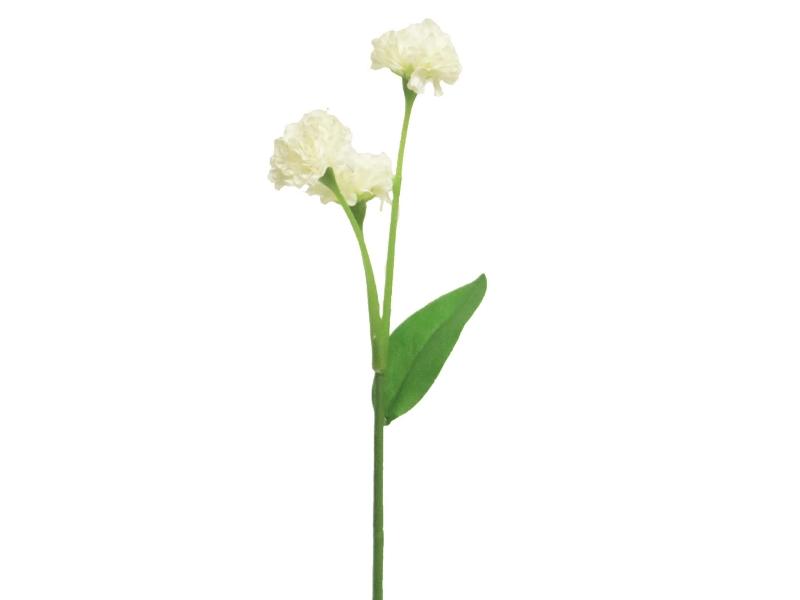 6 Grasnelken (weiss) – Kunstblumen mit je 3 Blüten und Blätter am Stiel – Gesamthoehe 29cm