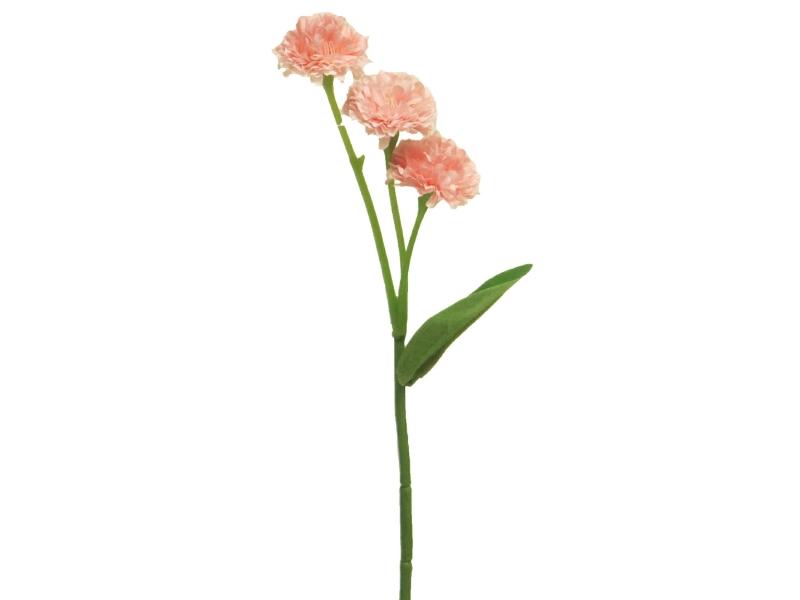 6 Grasnelken (pink) – Kunstblumen mit je 3 Blüten und Blätter am Stiel – Gesamthoehe 29cm