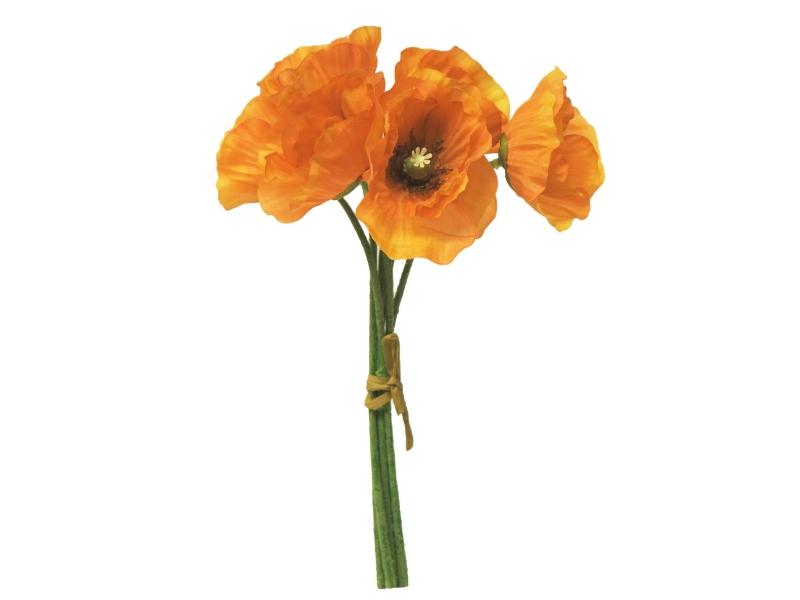 6 Mohnblüten im Bund (orange) – Kunstblumen mit Blüten am Stiel – Gesamthoehe 29cm