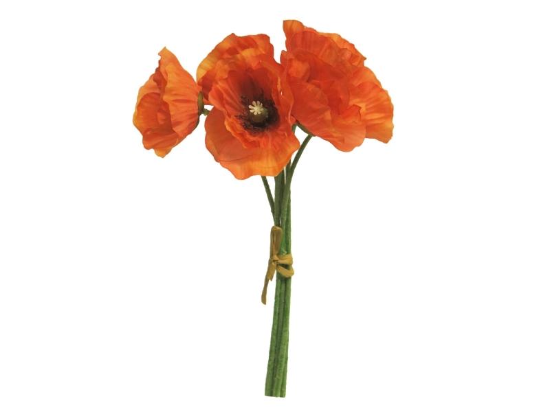 6 Mohnblüten im Bund (rot) – Kunstblumen mit Blüten am Stiel – Gesamthoehe 29cm