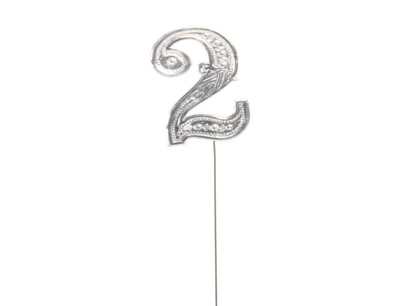Jubelzahlen - Zahlen zum Stecken an Draht  in Silber - Höhe 6,5cm - Zahl - 2
