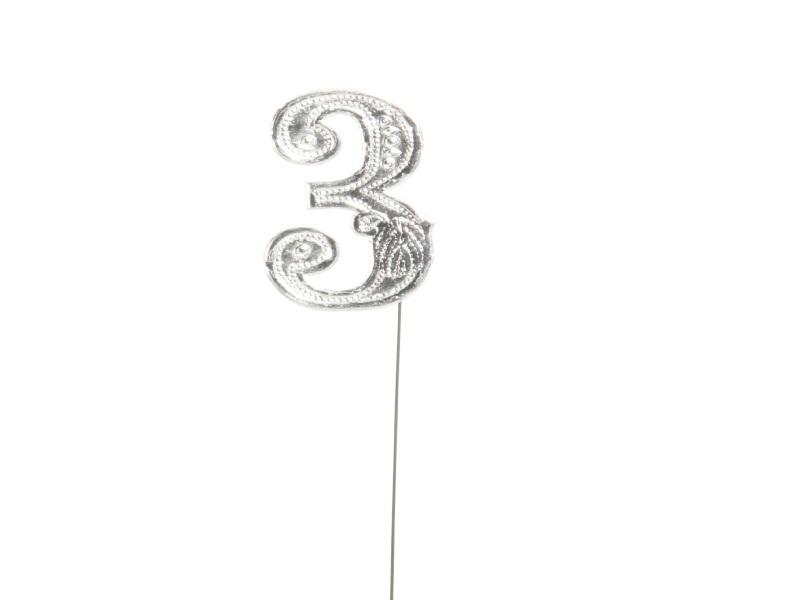 Jubelzahlen - Zahlen zum Stecken an Draht  in Silber - Höhe 6,5cm - Zahl - 3