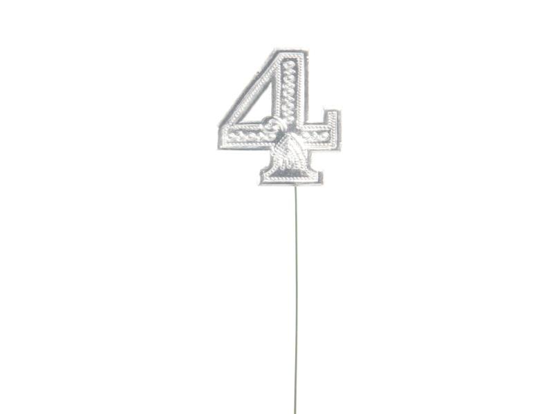 Jubelzahlen - Zahlen zum Stecken an Draht  in Silber - Höhe 6,5cm - Zahl - 4