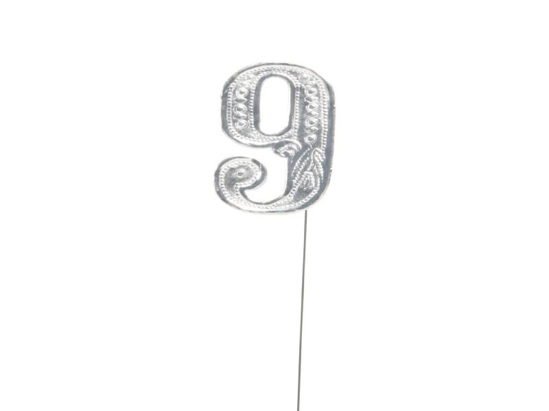 Jubelzahlen - Zahlen zum Stecken an Draht  in Silber - Höhe 6,5cm - Zahl - 9