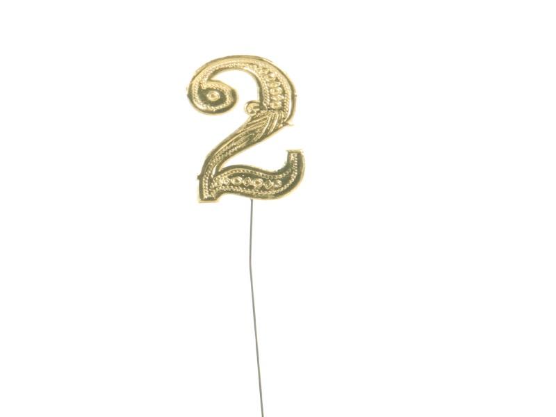 Jubelzahlen - Zahlen zum Stecken an Draht  in Gold - Höhe 6,5cm - Zahl  2