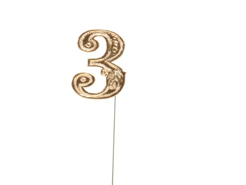 Jubelzahlen - Zahlen zum Stecken an Draht  in Gold - Höhe 6,5cm - Zahl  3