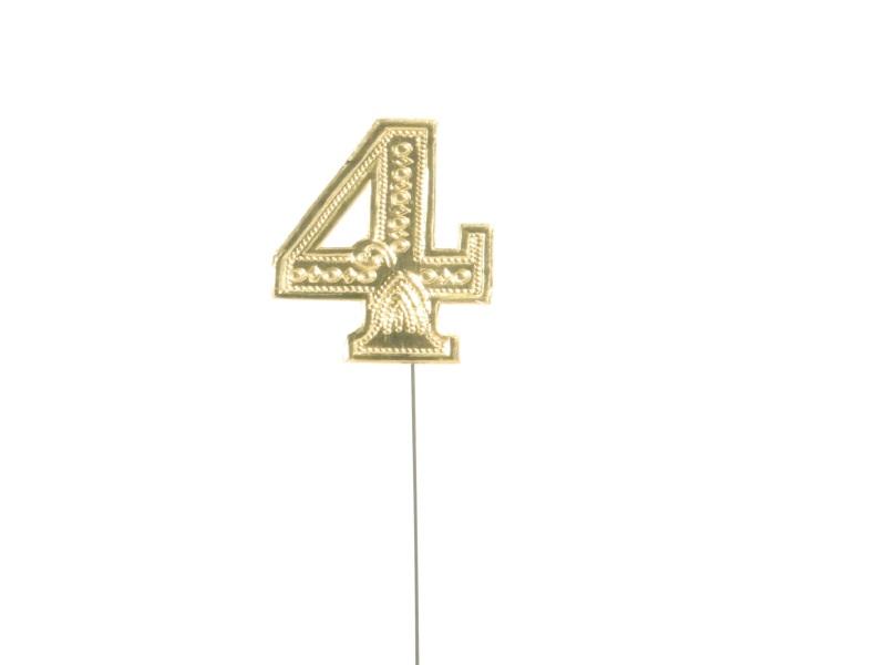 Jubelzahlen - Zahlen zum Stecken an Draht  in Gold - Höhe 6,5cm - Zahl  4