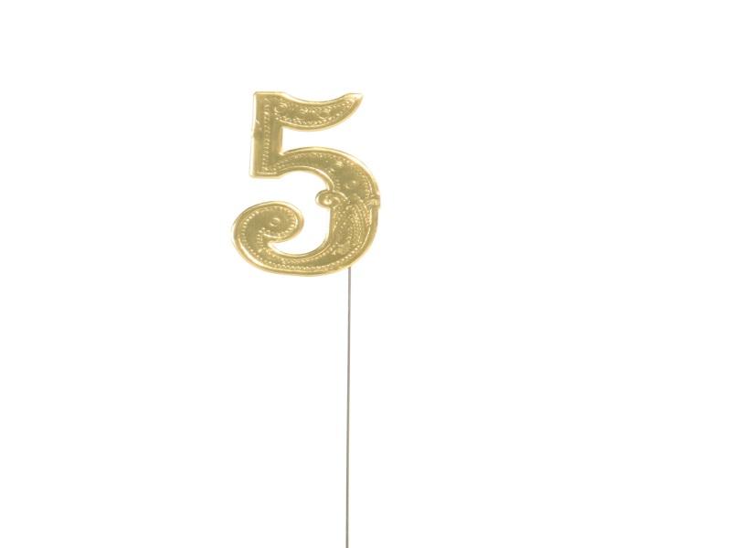 Jubelzahlen - Zahlen zum Stecken an Draht  in Gold - Höhe 6,5cm - Zahl  5