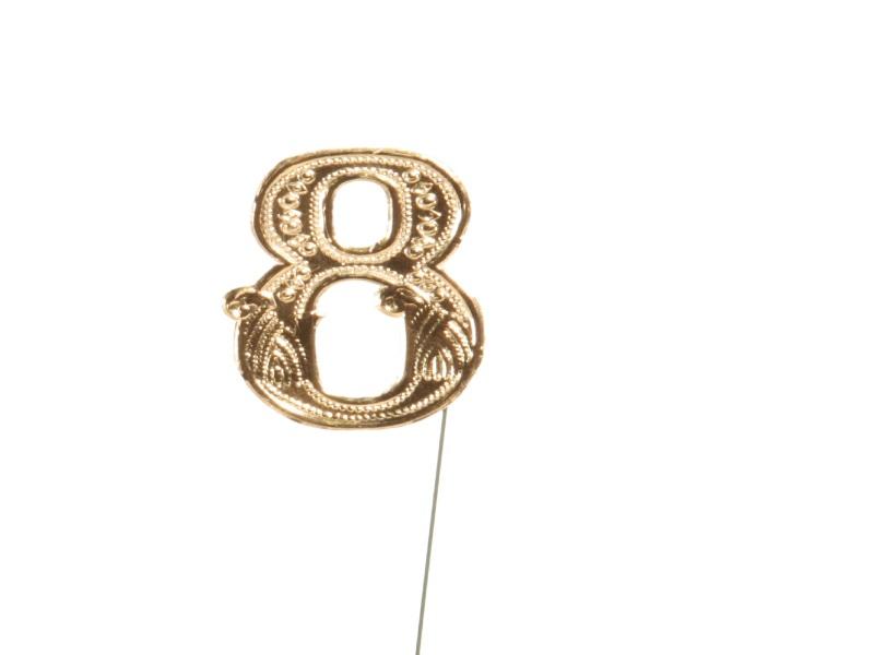 Jubelzahlen - Zahlen zum Stecken an Draht  in Gold - Höhe 6,5cm - Zahl  8