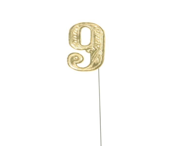 Jubelzahlen - Zahlen zum Stecken an Draht  in Gold - Höhe 6,5cm - Zahl  9