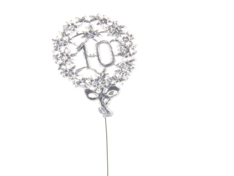 Jubelzahlen - Zahlen zum Stecken an Draht  in Silber - Höhe 6,5cm - Zahl - 10