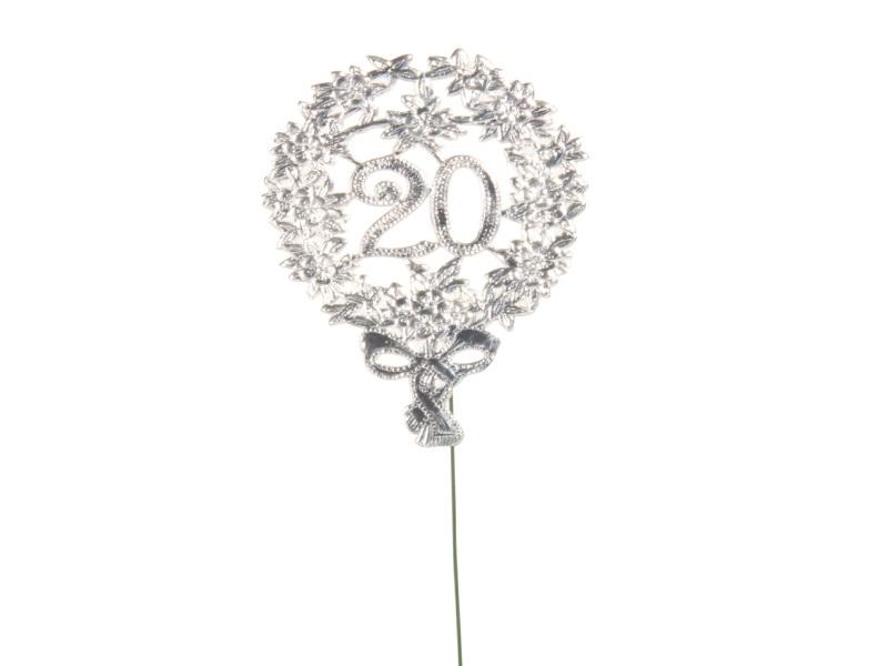 Jubelzahlen - Zahlen zum Stecken an Draht  in Silber - Höhe 6,5cm - Zahl - 20