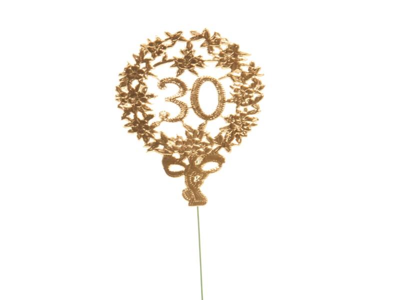 Jubelzahlen - Zahlen zum Stecken an Draht  in Gold - Höhe 6,5cm - Zahl 30