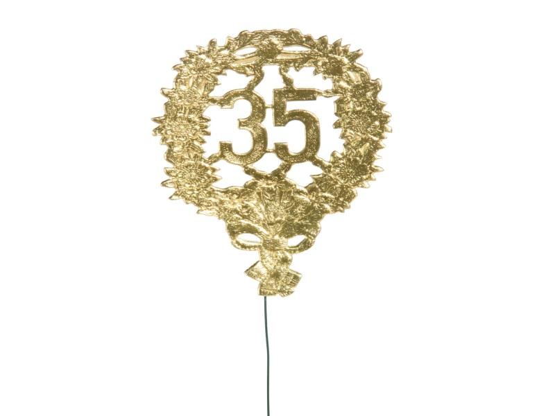 Jubelzahlen - Zahlen zum Stecken an Draht  in Gold - Höhe 6,5cm - Zahl 35