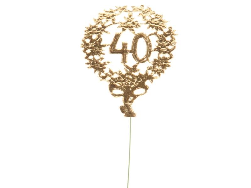 Jubelzahlen - Zahlen zum Stecken an Draht  in Gold - Höhe 6,5cm - Zahl 40