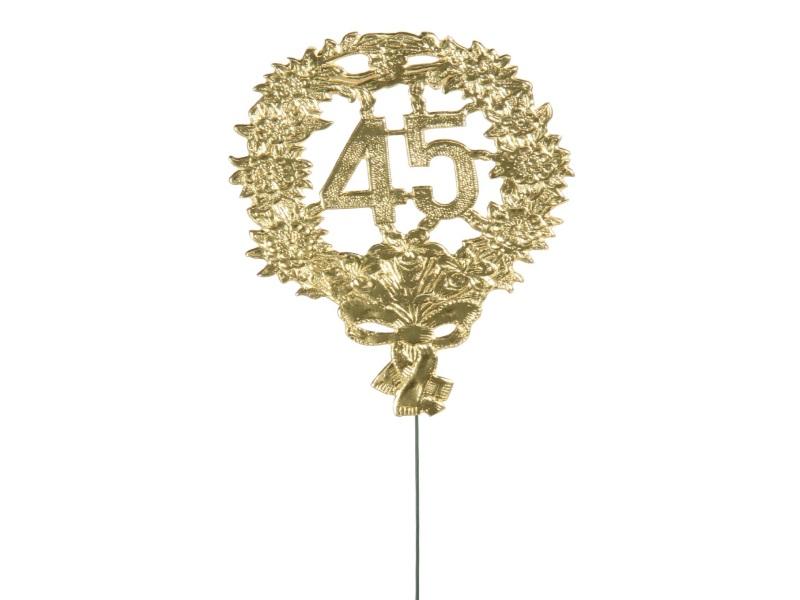 Jubelzahlen - Zahlen zum Stecken an Draht  in Gold - Höhe 6,5cm - Zahl 45