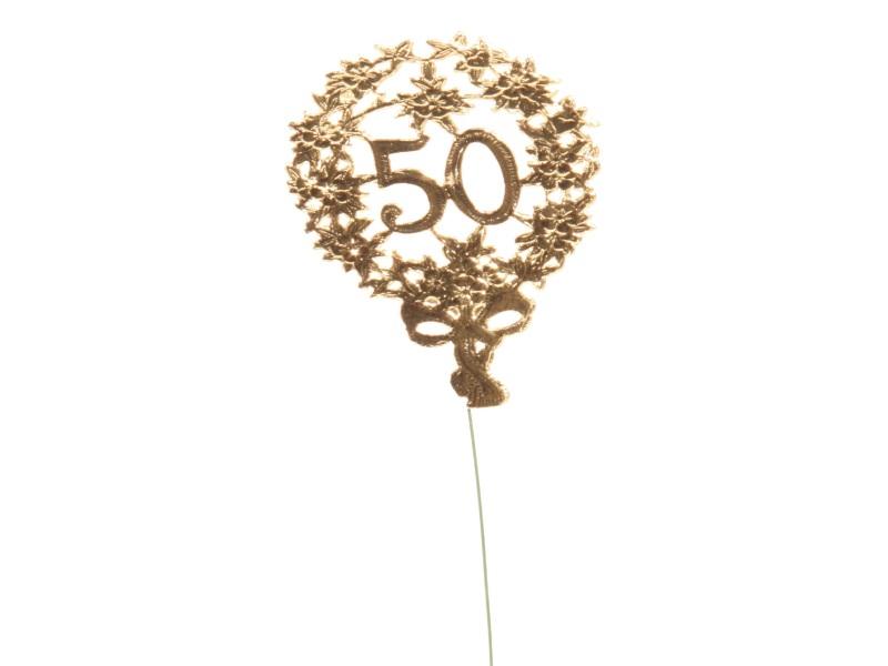 Jubelzahlen - Zahlen zum Stecken an Draht  in Gold - Höhe 6,5cm - Zahl 50